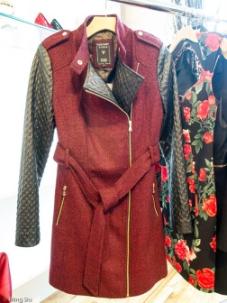 Material blocking jacket, red woven fabric body with leather sleeves