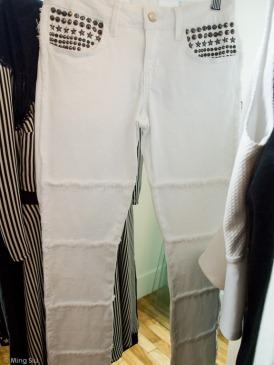 White studded jean