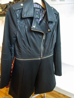 Wool / Leather blocking jacket with zipper details